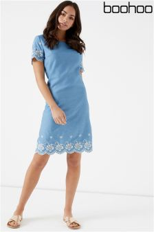 Boohoo Denim Embroidered Shift Dress