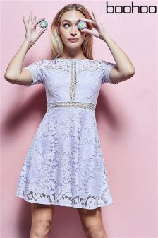 Boohoo Lace Ladder Trim Skater Dress
