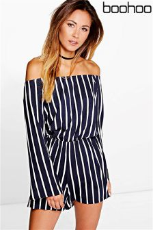 Boohoo Stripe Off The Shoulder Playsuit