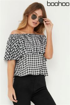 Boohoo Gingham Bardot Top