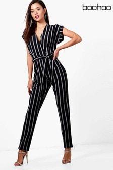 Boohoo Stripe Jumpsuit
