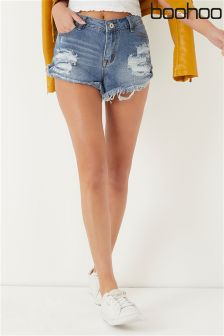 Boohoo Distressed Denim Shorts