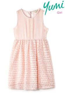 Yumi Girl Pin Tuck Rose Prom Dress