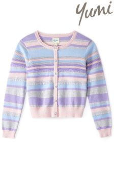 Yumi Girl Lurex Striped Cardigan With Scallop Trim