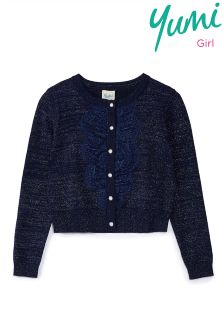 Yumi Girl Cardigan With Lace Placket Detail
