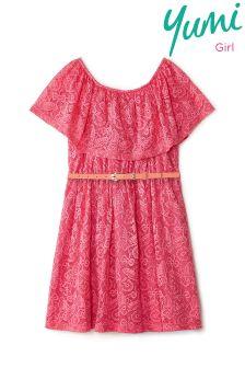 Yumi Girl Bandeau Frill Lace Dress