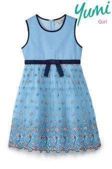 Yumi Girl Bow Embroidered Mesh Dress