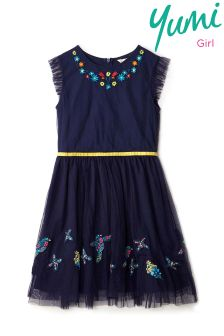 Yumi Girl Sunshine Floral Embroidered Mesh Dress