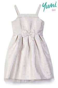Yumi Girl Jacquard Bow Prom Dress