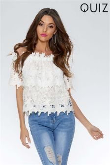 Quiz Floral Crochet Bardot Top