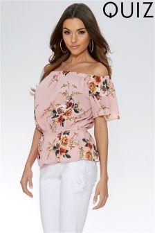 Quiz Crepe Floral Print Bardot Top