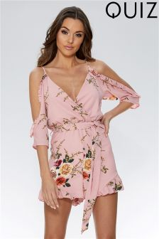 Quiz Floral Cold Shoulder Playsuit