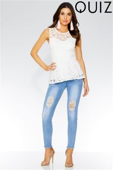Quiz Lace Sweetheart Neck Peplum Top