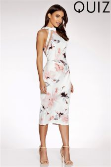 Quiz Floral Print Mesh Back Midi Dress