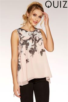 Quiz Chiffon Butterfly Print Split Back Top