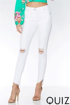 Quiz Stretch Frayed Hem Ripped Skinny Jeans