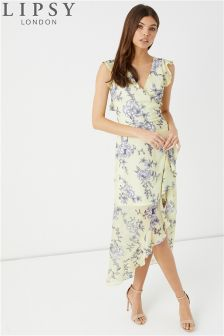 Lipsy Eloise Print Ruffle Wrap Dress