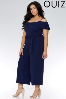 Quiz Curve Cold Shoulder Frill Tie Belt Culotte Jumpsuit