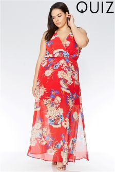 Quiz Curve Oriental Print Cross Over Front Maxi Dress