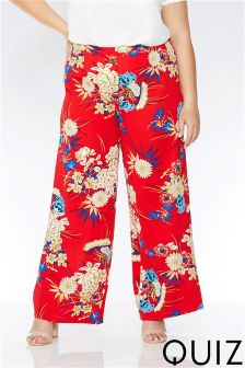 Quiz Curve Floral Print High Waisted Trousers