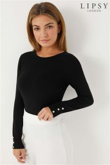 Lipsy Diamanté Button Cuff Jumper