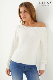 Lipsy Lace Slash Neck Jumper