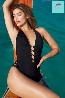 MW By Matthew Williamson Beaded Plunge Swimsuit