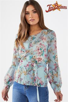 Joe Browns Long Sleeve Floral Chiffon Blouse With Cami Insert