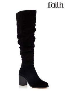 ecd6cebb98ed Faith Suede Ruched High Leg Boots