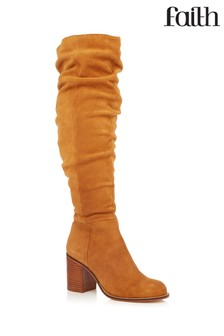 58f300bc53d Faith Suede Ruched High Leg Boots