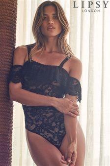 Lipsy Bardot Frill Lace Bodysuit