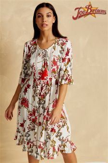 Joe Browns 3/4 Sleeve Floral Tea Dress With Frilled Hem