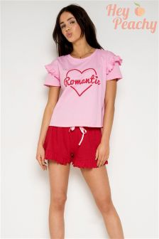 Hey Peachy Romantic Frill Short Pyjama Set