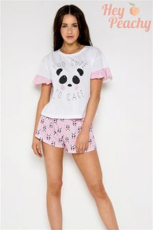 Hey Peachy Too Cute To Care Panda Short Pyjama Set
