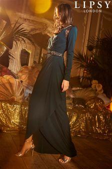 فستان ماكسي ملفوف بكم طويل Kamilla من Lipsy