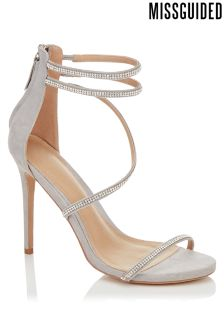 Missguided Cross Multi Strap Embellished Barely There Heels
