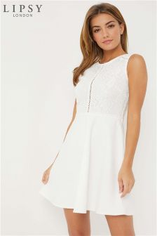 Lipsy Petite Lace Top Skater Dress