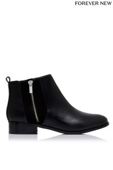 Forever New Zip Detail Flat Ankle Boots