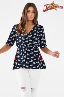 Joe Browns Short Sleeve Swan Print Wrap Top