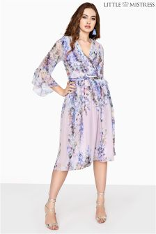 Little Mistress Curve Floral Printed Wrap Dress