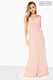 Girls On Film Frill Front Detail Strappy Maxi Dress