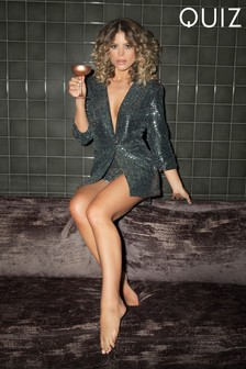 Quiz Glitter Texture Ruched Sleeve Suit Jacket