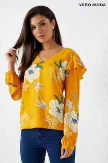 Vero Moda Floral Print Frill Top