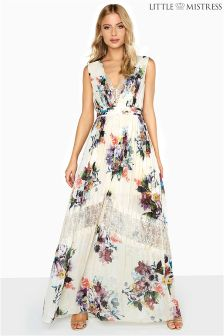 Little Mistress Floral Lace Mix Maxi Dress