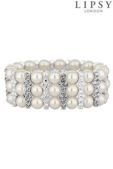 Lipsy Pearl And Crystal Rhondelle Stretch Bracelet