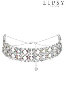 Lipsy Floral Silver Wide Crystal Choker