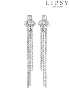 Lipsy Crystal Cluster Chain Drop Earrings