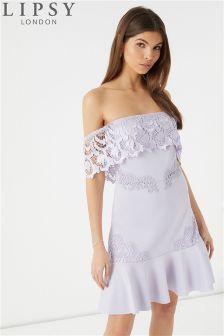 Lipsy Lace Trim Bardot Flippy Hem Dress