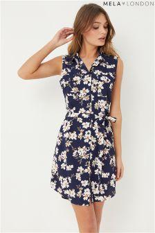Mela London Printed Sleeveless Shirt Dress