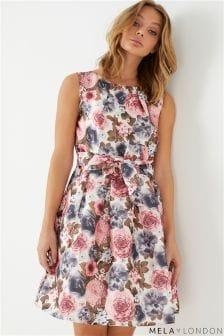 Mela London Floral Print Prom Dress